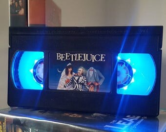 Retro VHS Beetlejuice Scifi Night Light Table Lamp, Horror Movie . Order any movie! Great personal gift. Man Cave. Office, bedroom.