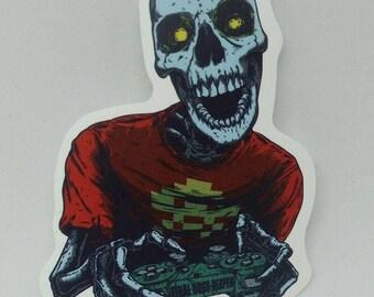 Zombie Skeleton Gamer - Car/Laptop Sticker