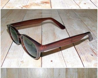 Vintage 90s deadstock slim wayfarer sunglasses transparent dark brown (SG21)