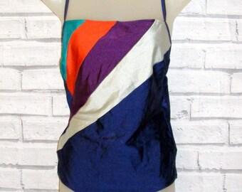 Size 14 vintage 80s swimming costume criss cross back navy/multi stripes (IB43)