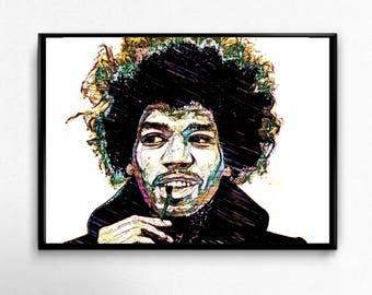 Jimi Hendrix — Best Selling Portrait, Limited Edition, Digital Print, Printable Art, Home Decor, Jimi Hendrix Poster