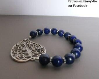 Silver leaf bracelet with Lapis Lazuli
