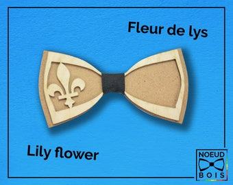 Wooden bow tie lily flower pattern, blue, colored, laser engraved, laser cut, lily, flower, Québec, Royalty, monarchy, history, king