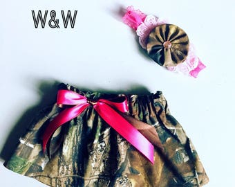 Camouflage Skirt, Realtree or Mossy Oak, Girls Hunting Skirt, Baby Girl Camouflage Skirt, Camo and Pink, Girls' Clothing, Skirts, Children's