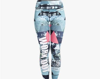 Blue Retro Graffiti Workout Leggings