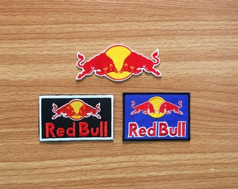 Set 3 Design Red Bull Logo Energy drink Badge Sport Racing Embroidered iron on patch, Motorcycle Racing, Patch Motorcycle