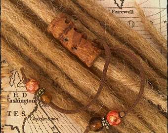 XS/S - Unique hand crafted, up-cycled genuine leather dread/beard/hair cuff/bead with beaded tails.