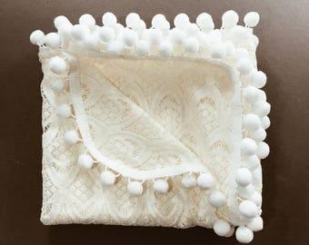 Heirloom Lace Pom Swaddle Blanket