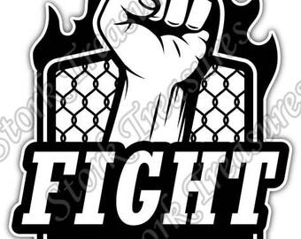 Mixed Martial Arts MMA Cage Fight Gift Idea Car Bumper Vinyl Sticker Decal