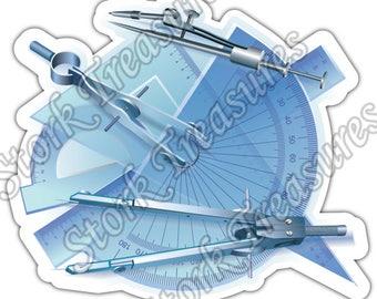 Engineering Table Engineer Hard Hat Drawings Car Bumper Vinyl Sticker Decal