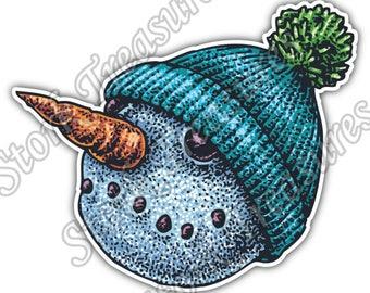 Snowman Head Carrot Nose Hat Winter Snow Car Bumper Vinyl Sticker Decal