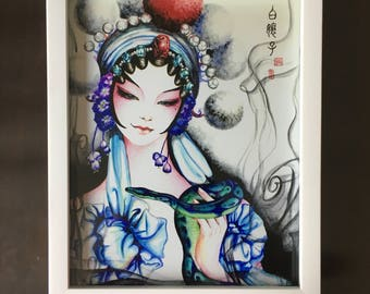 Prints: Madame White Snake I - watercolor painting.