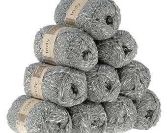 10 x 50g recycled yarn Indy, color 096 Grey