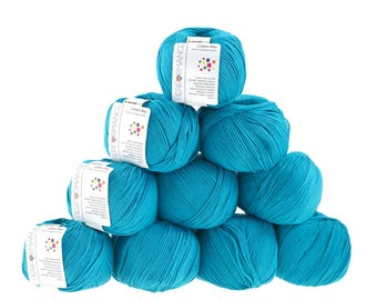 10 x 50 g knitting wool cotton Bay #128 blue