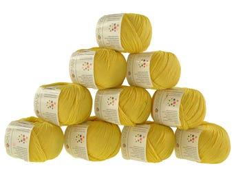 10 x 50 g knitting wool cotton glamorous #179 yellow