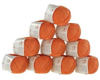 10 x 50 g knitting wool cotton glamorous #193 orange