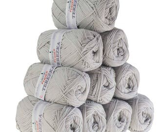 10 x 50g knitted yarn TEREZKA 100% cotton, #104 Grey