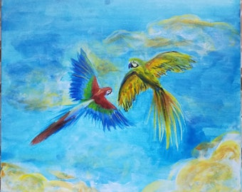 """Painting """"Parrots Ara in the sky"""""""