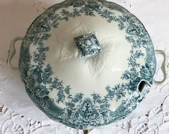 Green and white Tureen, Ceramic Art Co Ltd,  Antique Tureen, Blue and White Vintage China