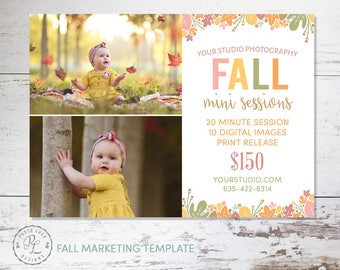 Fall Mini Session template, Fall Photography, Fall Marketing, Photoshop Template, Instant Download, Autumn Minis