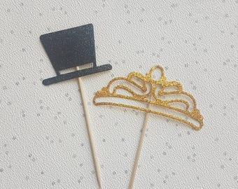 Top Hat and Tiara Glitter Cake Toppers, cupcake topper, wedding decor, top hat cake topper, tiara cake topper, wedding, party decor