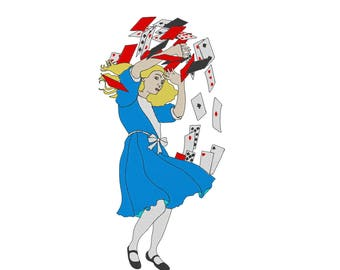 Alice and the Playing Cards - Embroidery Design - Alice in Wonderland - 3x6, 4x8, 5x10, 6x12