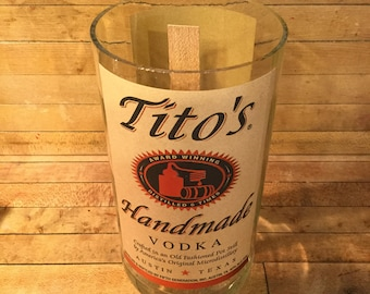 Custom Made Tito's Vodka 750 ML Candle With Premium Wood Wick. Made in America. Veteran Owned Business.