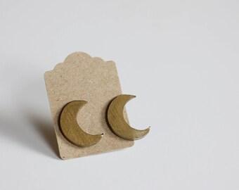 Shrink Plastic Gold Moon Earrings