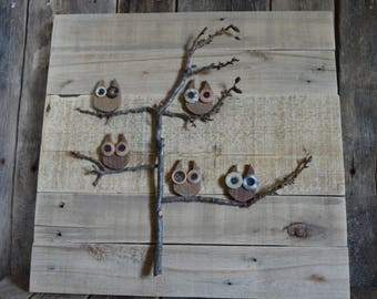 Rustic Owls in a Tree