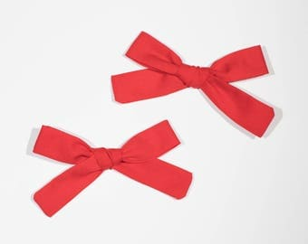 Red Hand Tied Hair Bow
