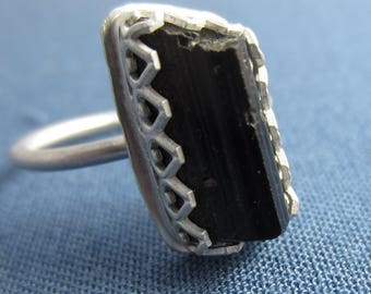 Raw Black Tourmaline Ring II - Size 7.25 in Sterling Silver