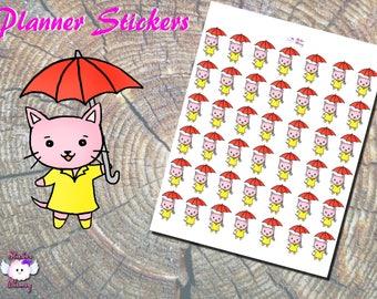 Rainy Day Planner Stickers, Umbrella Stickers, Rain Stickers, Pink Cat, Rainboots Stickers, Umbrella Stickers, Paper Stickers, Erin Condren