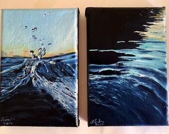 2 Mini Oil Paintings - Water Study, on canvas 10x15cm // Água - Pintura a óleo