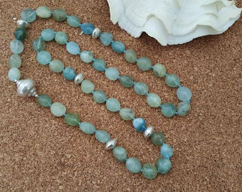 Natural Green Beryl And Aquamarine Oval Nugget Beads with Handmade Pure Silver Beads Necklace (BEADJ1030)