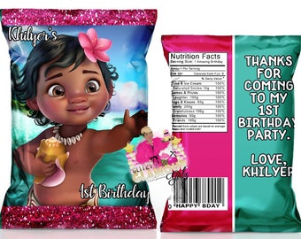Baby Moana chip bags, Moana party favor, Moana treat bag, Moana favors, Moana 1st birthday, Moana birthday party--DIGITAL FILE ONLY