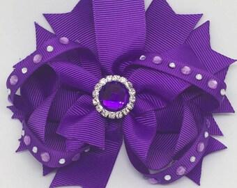 """Purple - Medium: 4.5"""" Hair Bow Clip"""