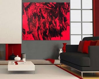 Original Abstract Painting Modern Wall Art Red Black Painting On Canvas.