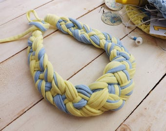 FREE SHIPPING Knitted jewelry, Breastmilk jewelry, T-shirt necklace, Knitted necklace, Cotton jewelry, Yellow necklace, Braid necklace
