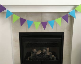 Triangle Banner, Bunting Banner, Garland, Party Decoration, Purple, Green, Blue, Triangle Garland, Photo Prop