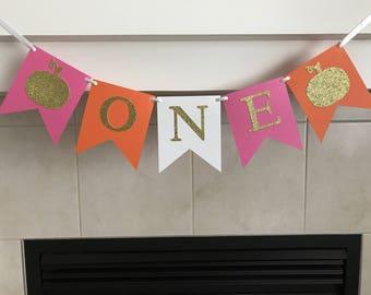 Pumpkin One Birthday Banner, One Birthday Banner, High Chair Banner, Fall Birthday Decoration, Pumpkins, First Birthday, 1st, Photo Prop