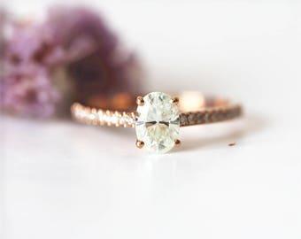 5x7mm Charles&Colvard Oval Moissanite Engagement Ring 14K Rose Gold Bridal set Half Eternity Diamond Band moissanite Ring Wedding Ring Gift