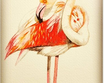 flamingo watercolor painting, handmade, original artwork, bird art, not print, home décor, blush pink,tropical,wall décor,nursery,decoration