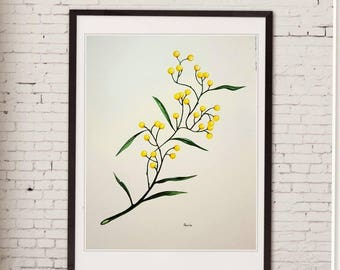 yellow watercolor painting,acacia,botanical art,handmade, floral art, mimosa,original art, wall décor,vachellia,home décor, tree, nature art