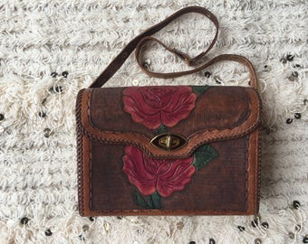 Vintage 70's Mexican Tooled Leather Butterfly Rose Shoulder Bag Purse Clutch