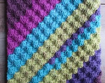 Crochet Baby Blanket - Purple, Blue, & Green