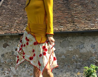 """Set skirt and top """"I love poppies"""""""