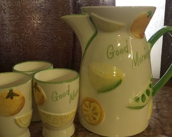 Antique Juice Pitcher and Cups
