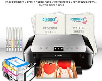 Icinginks Edible Printer Art Package - Includes Canon Edible Printer, Wafer Paper, Frosting Sheets,Fine Tip Edible Markers,Edible Cartridges