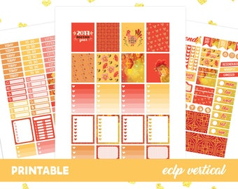 50% 0FF SALE Chinese New Year Weekly Kit, Printable Planner Stickers, Erin Condren Life Planner, Chinese Planner Sticker, Rooster Stickers