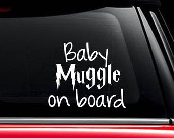 Baby Muggle on Board Decal, Harry Potter Inspired Decal, Muggle Decal